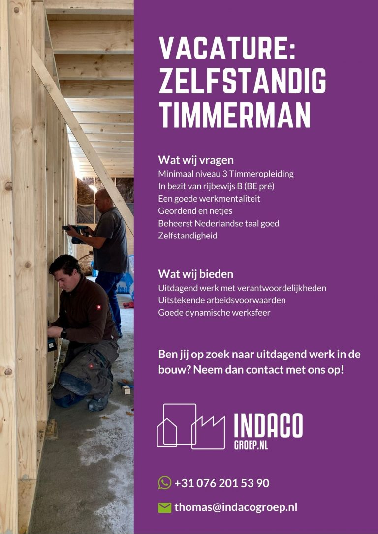Vacature timmerman - Indaco Groep